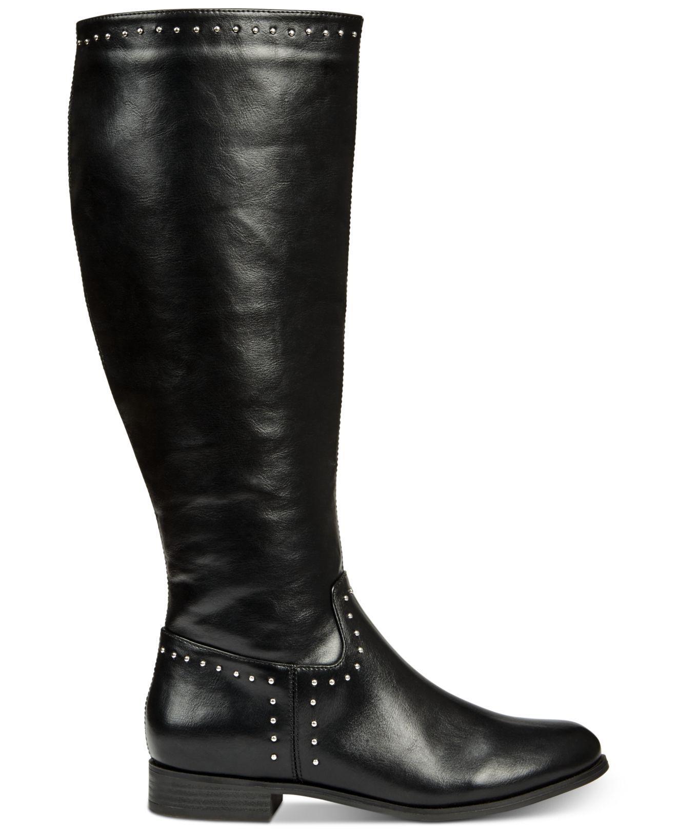 811facf282e7 Lyst - Esprit Genie Memory Foam Studded Riding Boots in Black