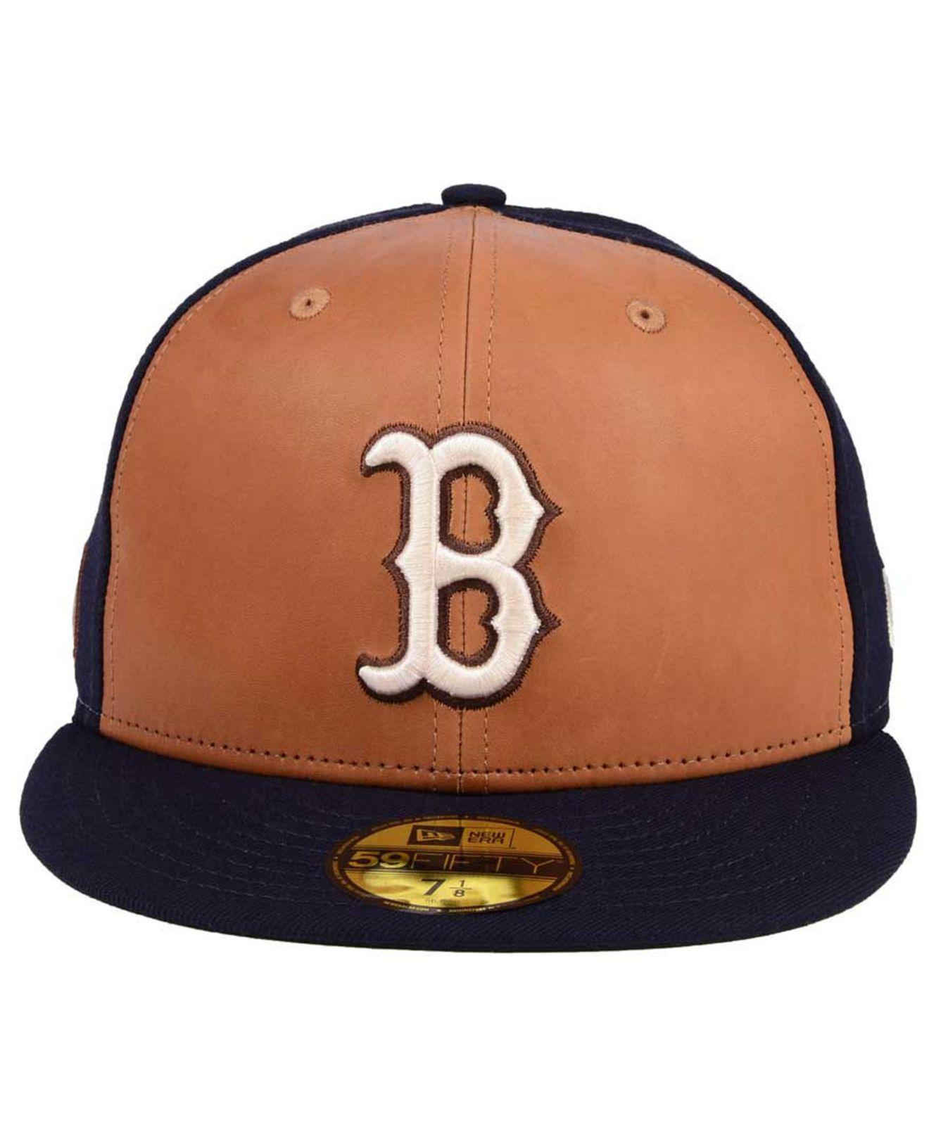 cheaper 82a4d 7822d ... best price lyst ktz boston red sox x wilson leather front 59fifty  fitted cap in blue