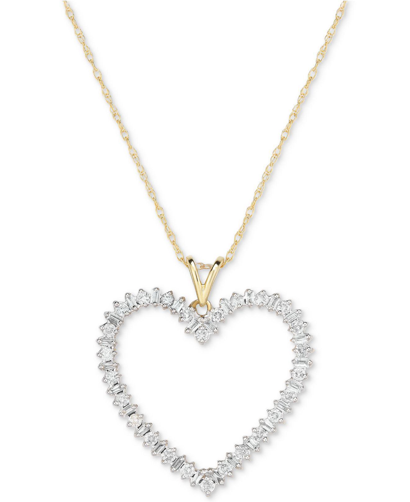 bd10562f696 Lyst - Macy's Diamond Heart Pendant Necklace (1/2 Ct. T.w.) In 14k ...