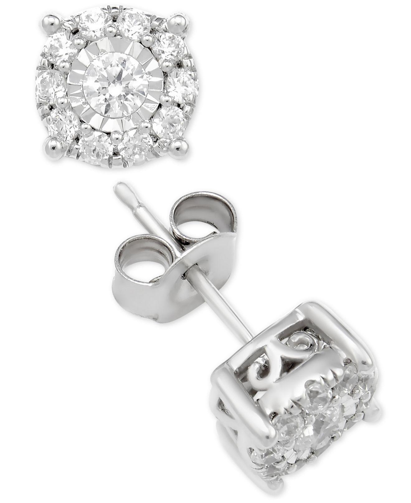 lyst macy 39 s diamond halo stud earrings 1 ct t w in. Black Bedroom Furniture Sets. Home Design Ideas