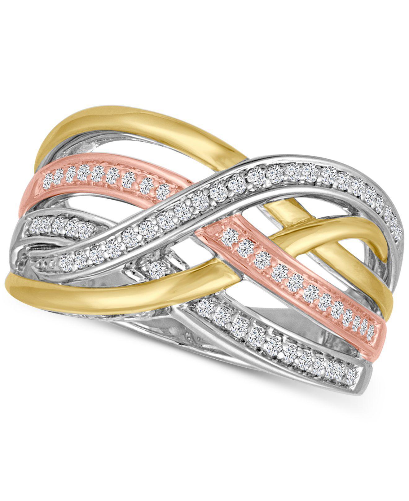 c952bfa0e Macy's Diamond Weave Tri-color Statement Ring (1/4 Ct. T.w.) In ...