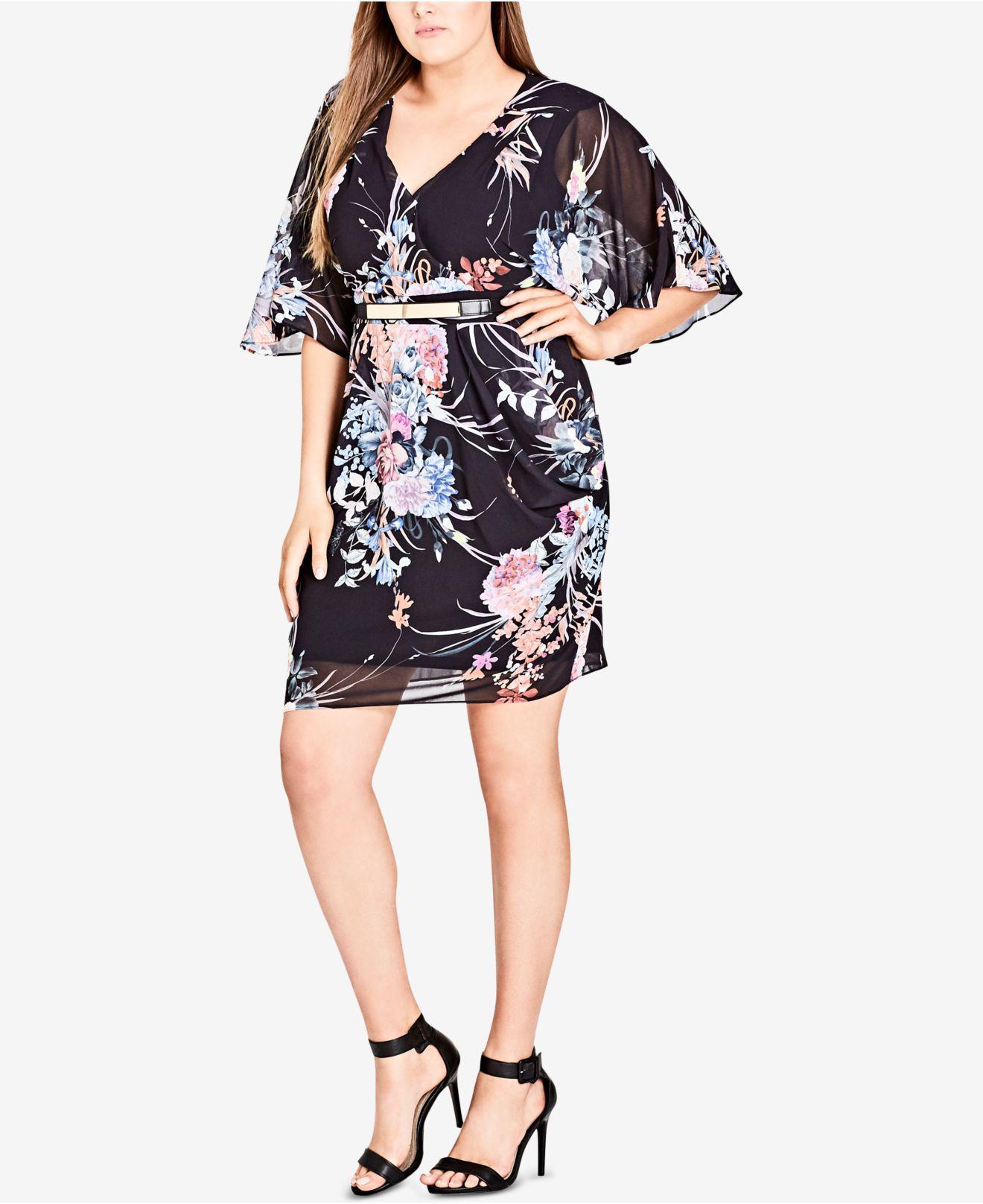 8c8da8416ceb8 Lyst - City Chic Trendy Plus Size Kimono Wrap Dress in Black