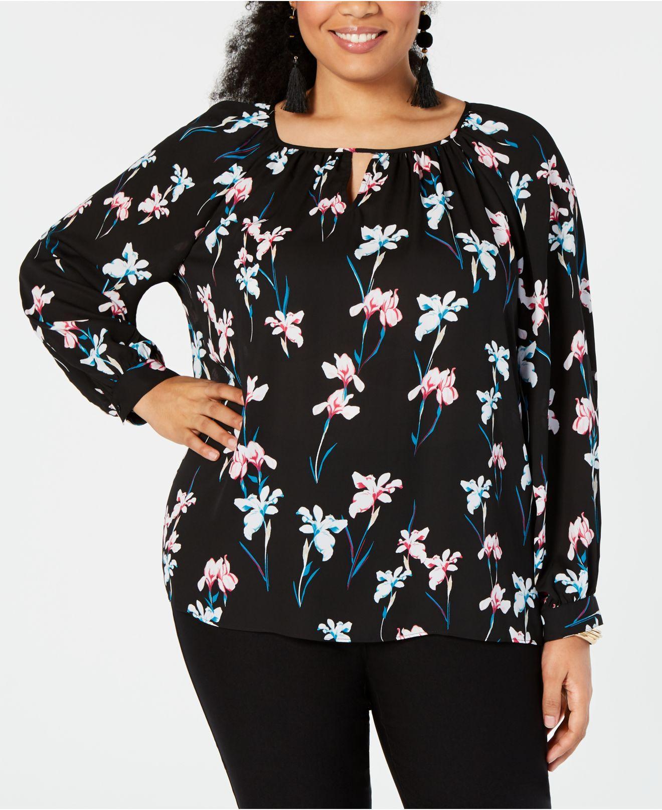 f3c9ce8e937 INC International Concepts. Women s Black I.n.c. Plus Size Floral-print ...