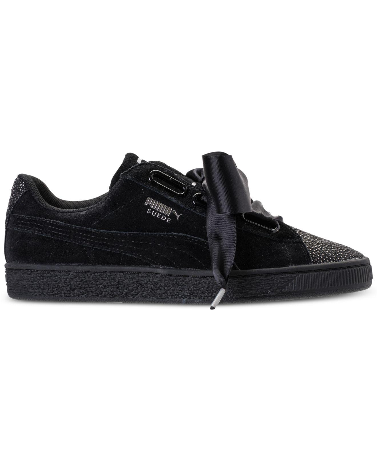 29cc08326fe Lyst - PUMA Suede Heart Bubble Casual Sneakers From Finish Line in Black