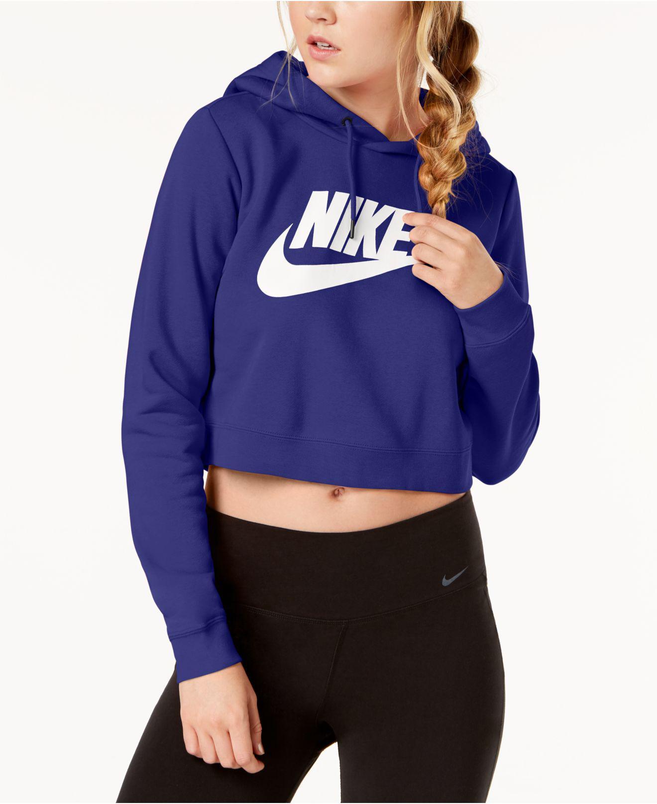 5ead791f1de65 Lyst - Nike Sportswear Rally Logo Cropped Fleece Hoodie in Blue ...