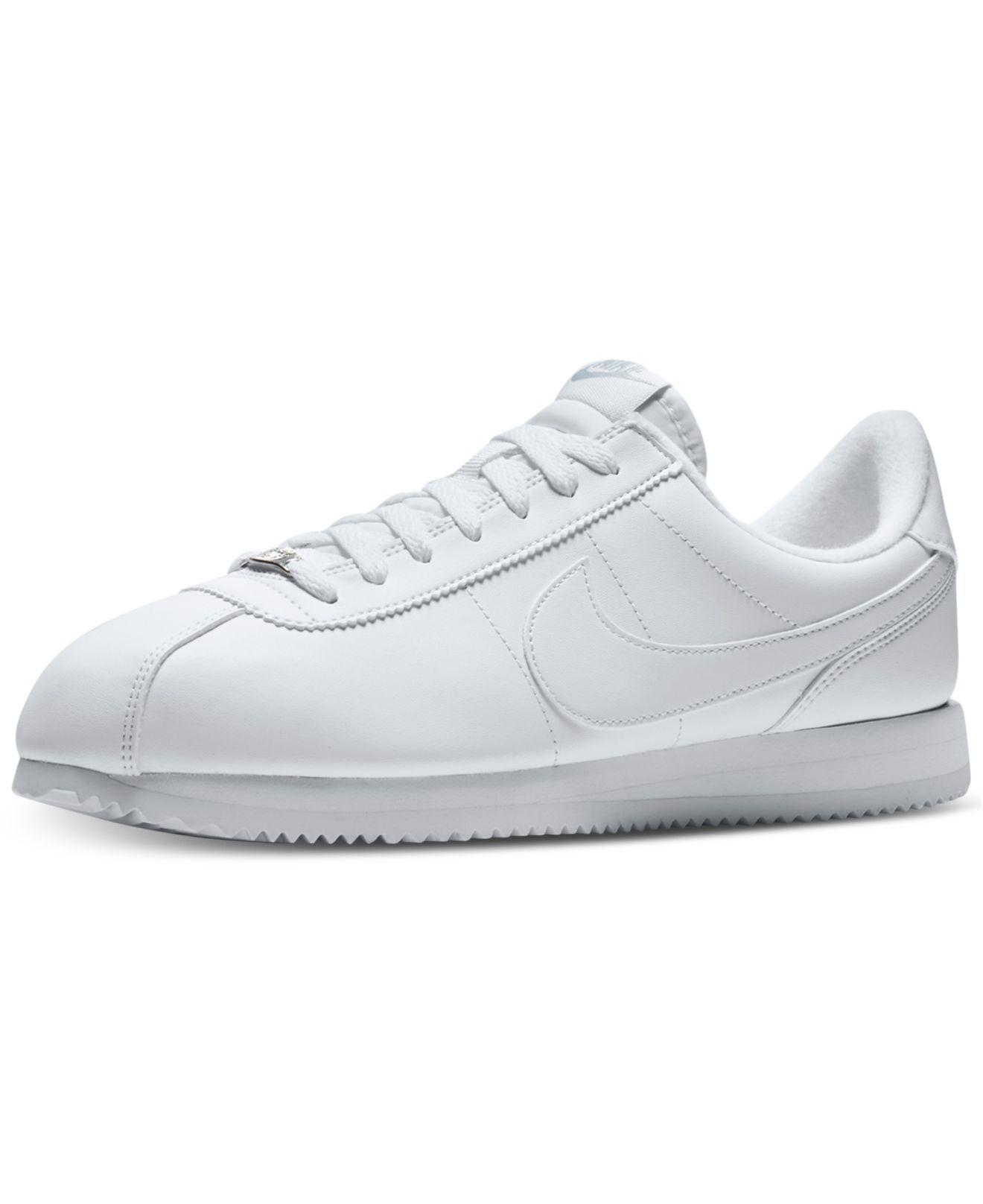 5c4db487fe3a Lyst - Nike Men s Cortez Basic Leather Casual Sneakers From Finish Line in  White for Men
