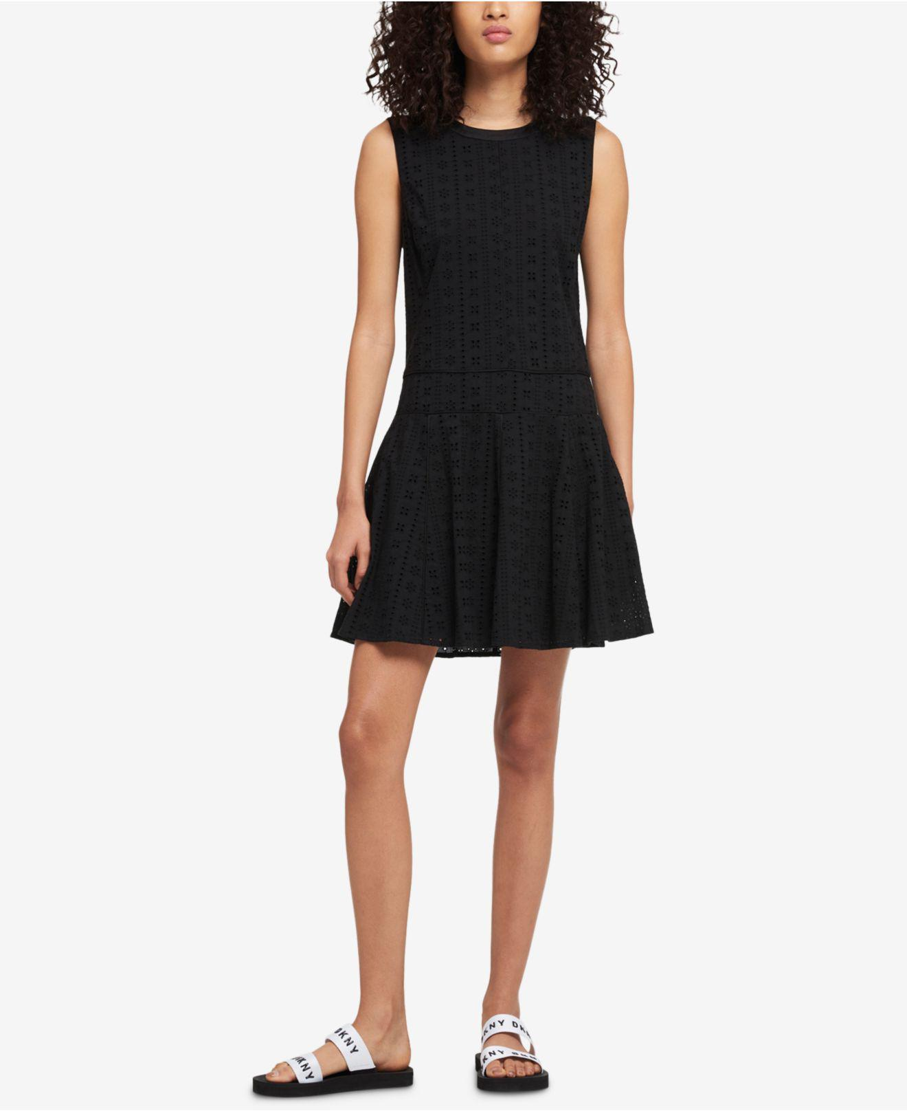 Painted Stripe Asymmetrical Sleeveless Dress DKNY Real Manchester Cheap Price 2018 Sale Online Get To Buy Cheap Sale Limited Edition or0Ab