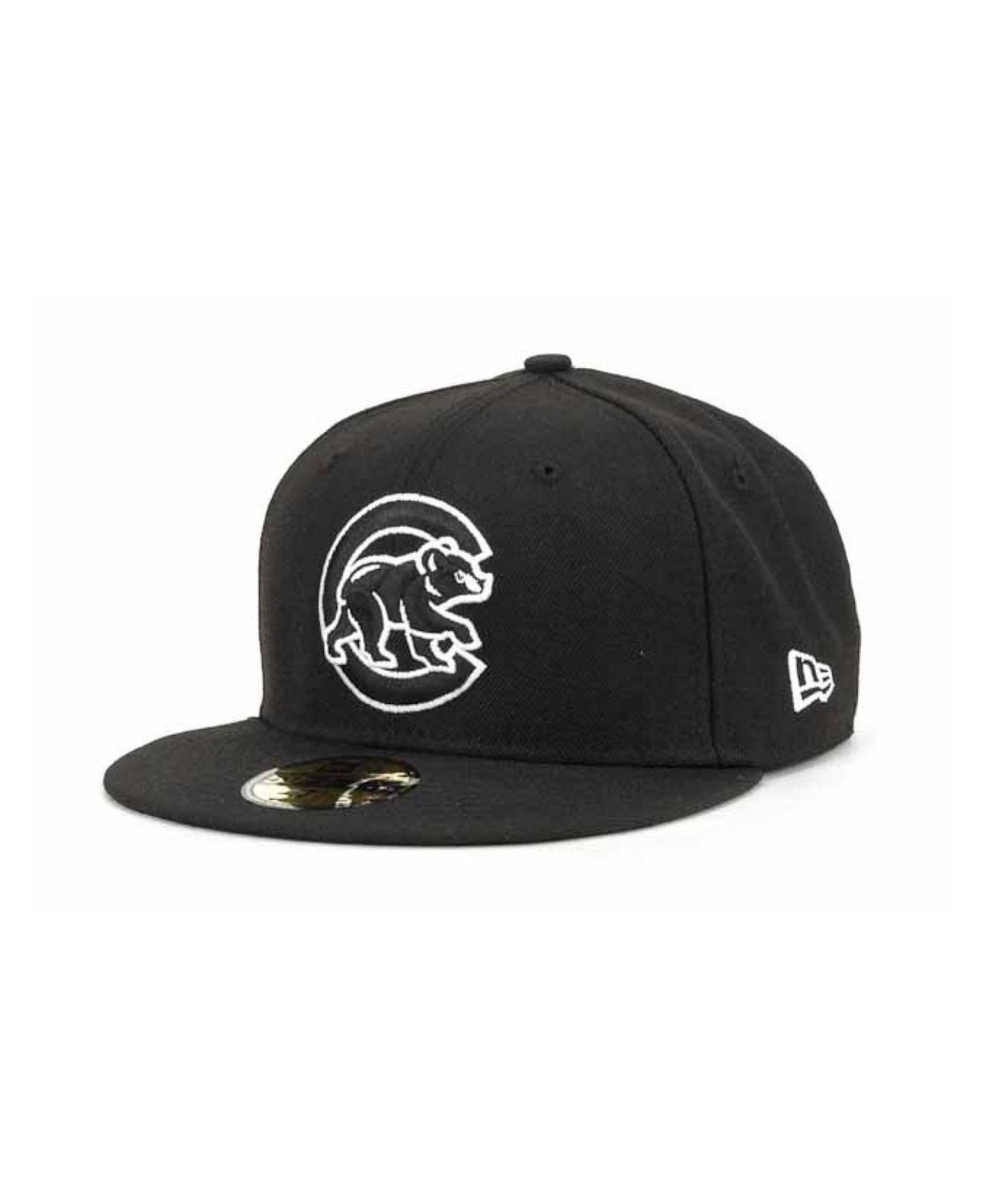 sports shoes 4222f f71d3 KTZ. Men s Chicago Cubs Mlb Black And White Fashion 59fifty Cap