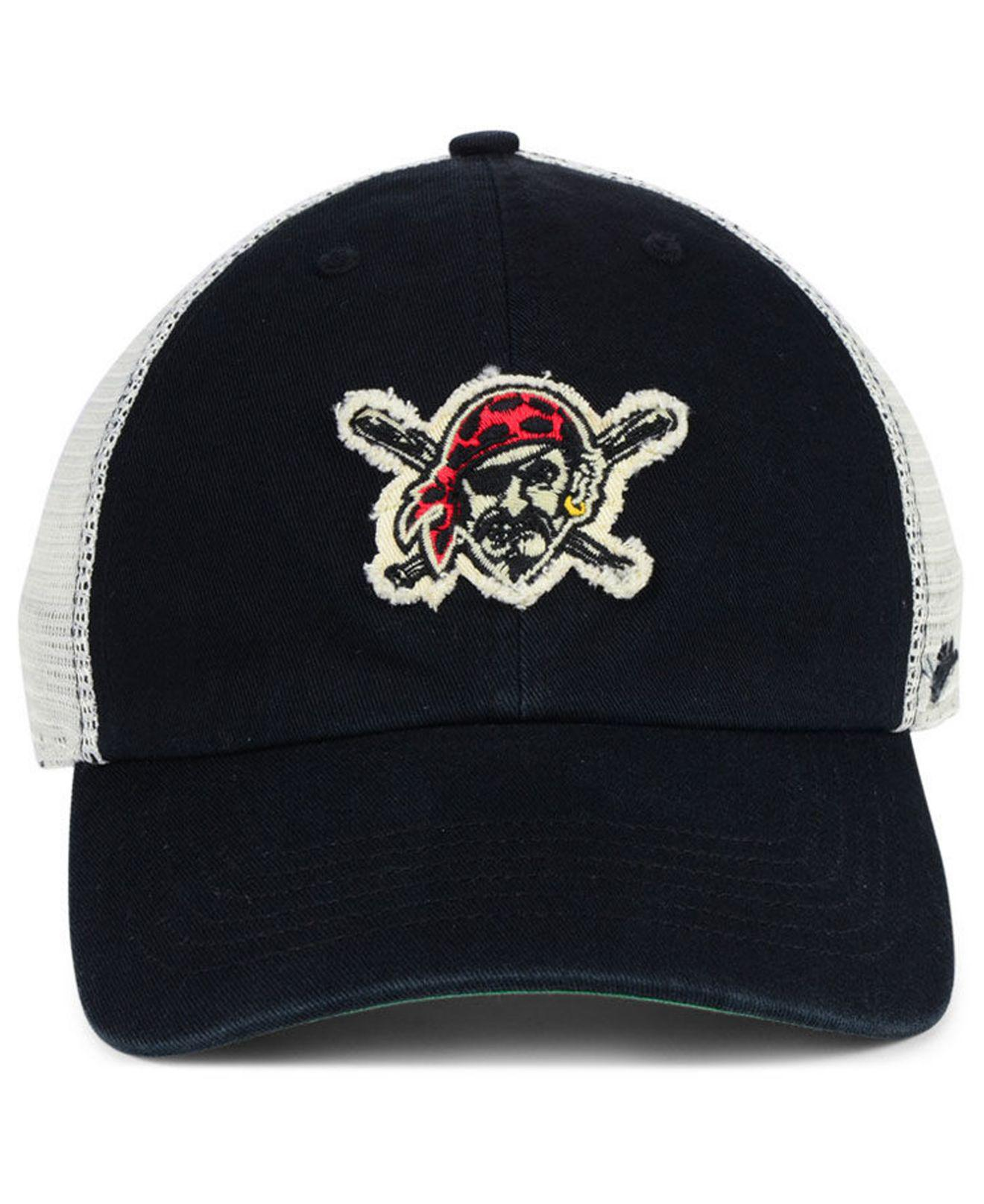 sale retailer f047c 7b8ed ... sale lyst 47 brand pittsburgh pirates tally closer stretch fitted cap  in black for men f7769