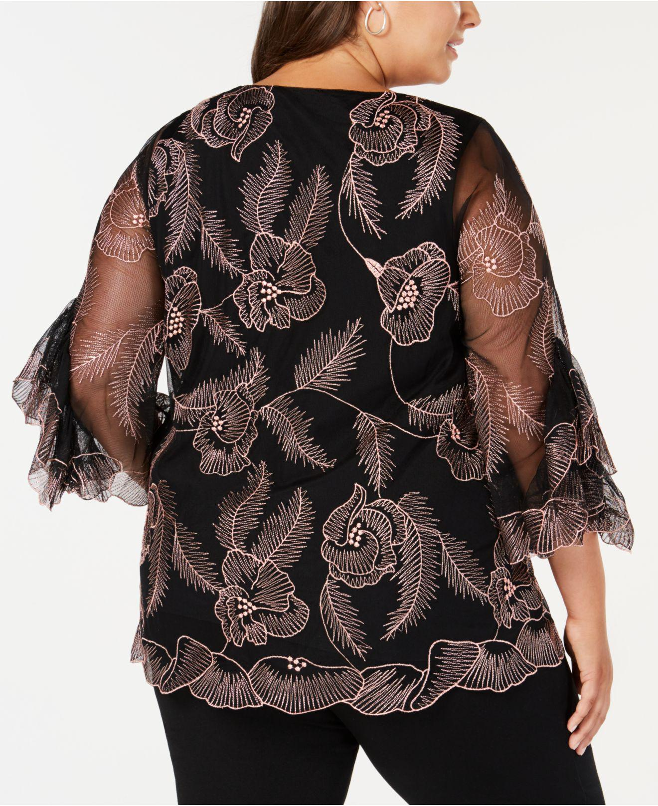 52d4974cc52 Lyst - Alfani Plus Size Embroidered Statement-sleeve Top