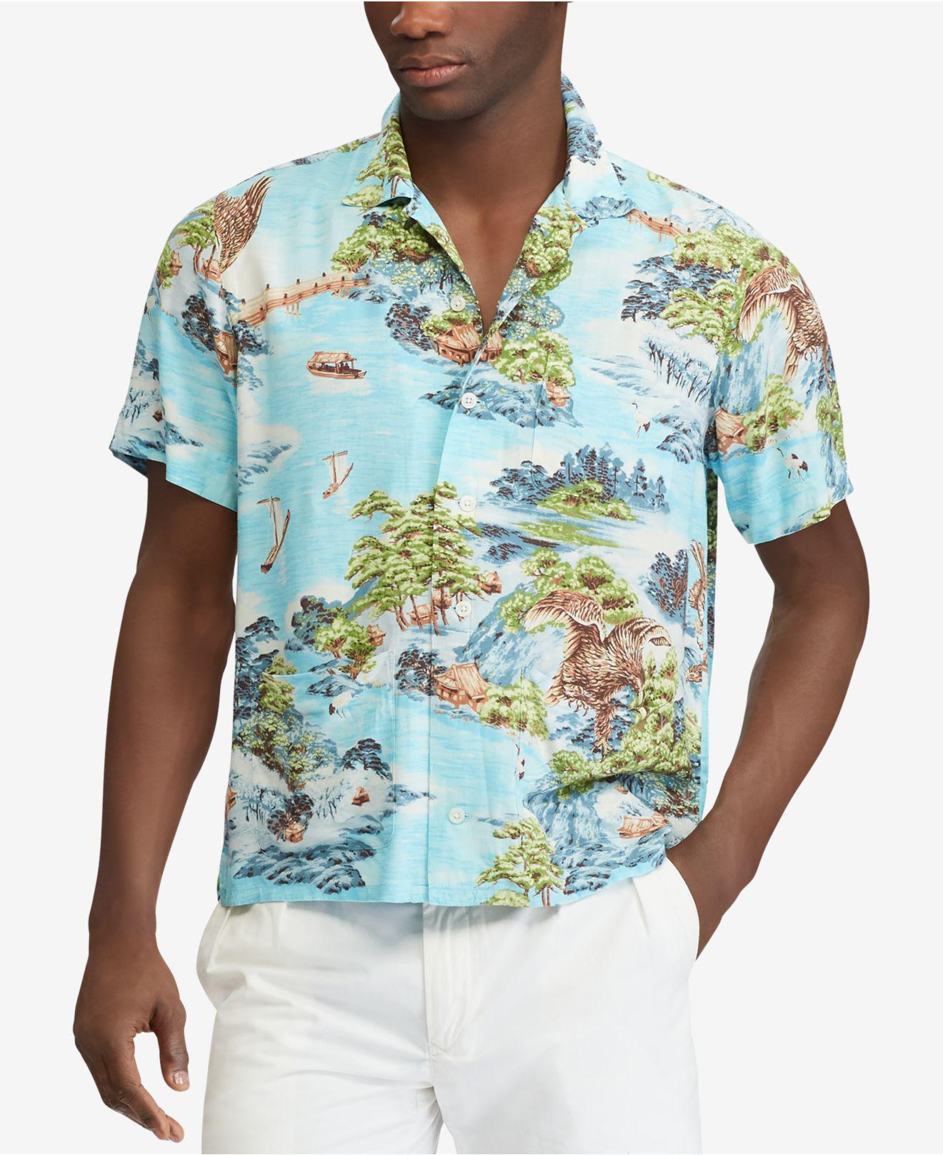 ad1eb39166013 Lyst - Polo Ralph Lauren Classic Fit Printed Shirt in Blue for Men