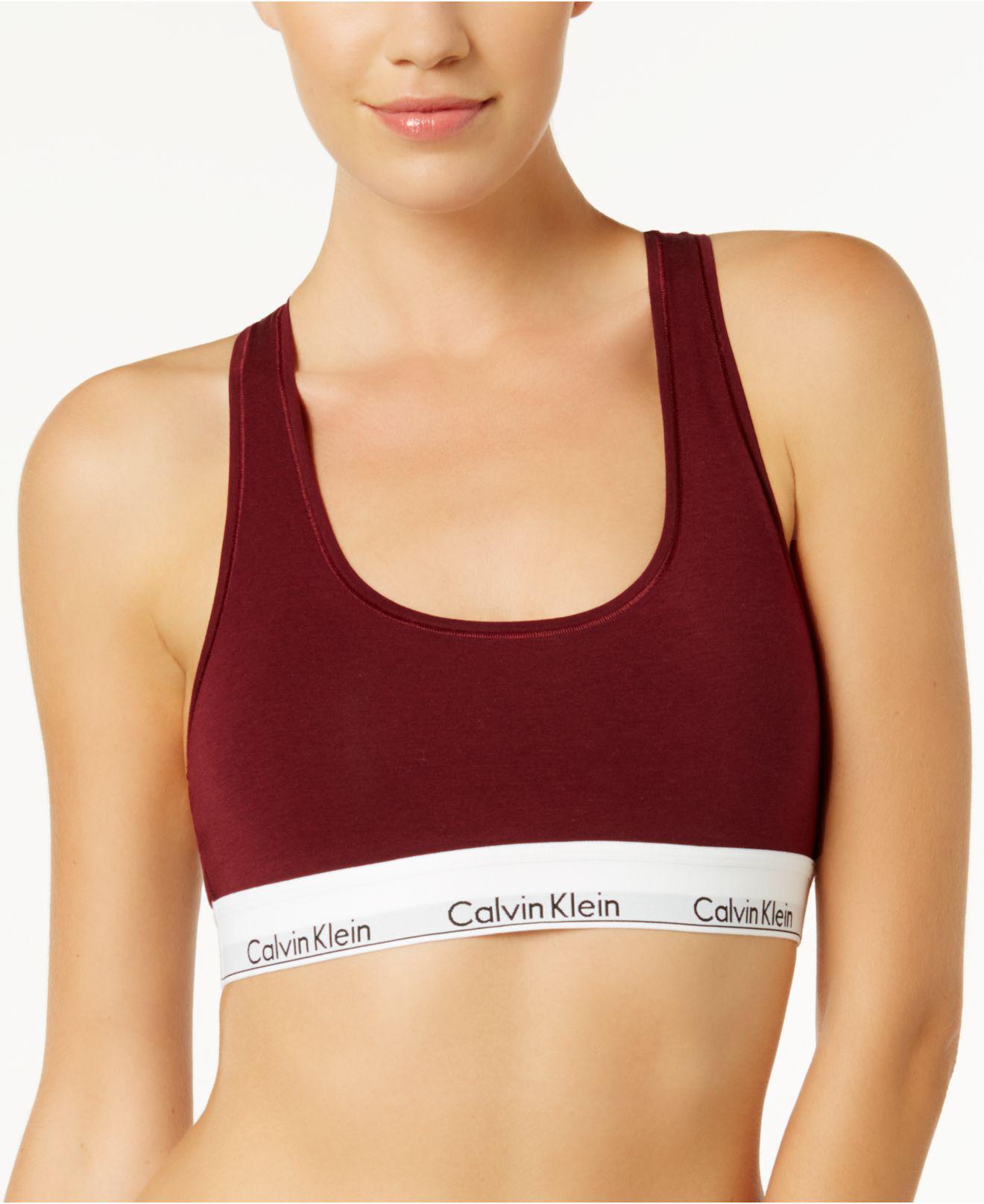 436b89e61e656 Lyst - Calvin Klein Modern Cotton Bralette F3785 in Red