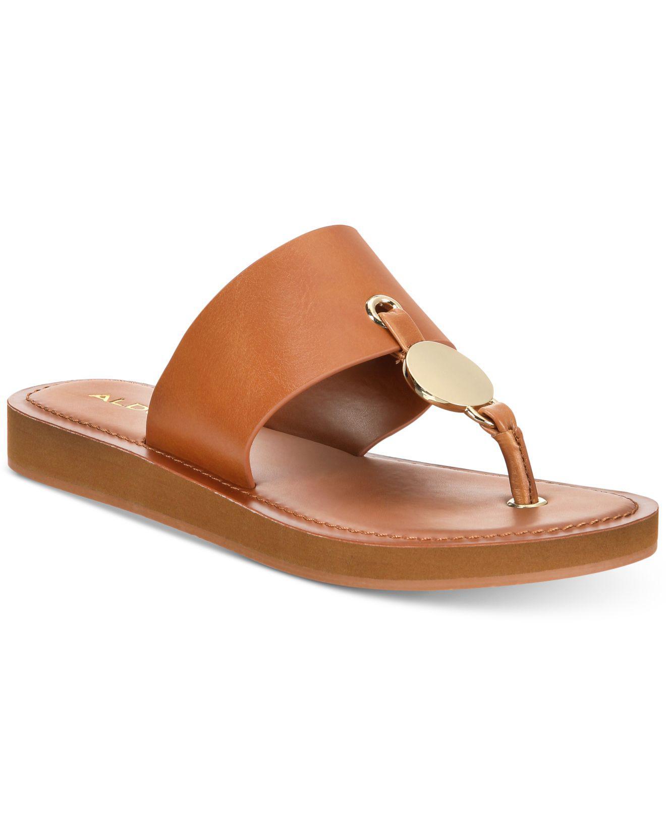 371f68752e8d38 Lyst - ALDO Yilania Coin Slide Sandals in Brown