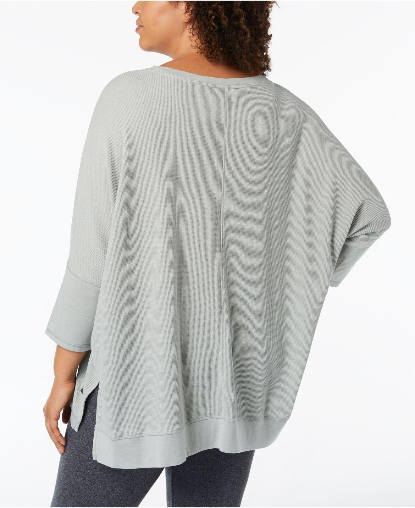 ab136db8580 Lyst - Calvin Klein Performance Plus Size 3 4-sleeve Top in Gray