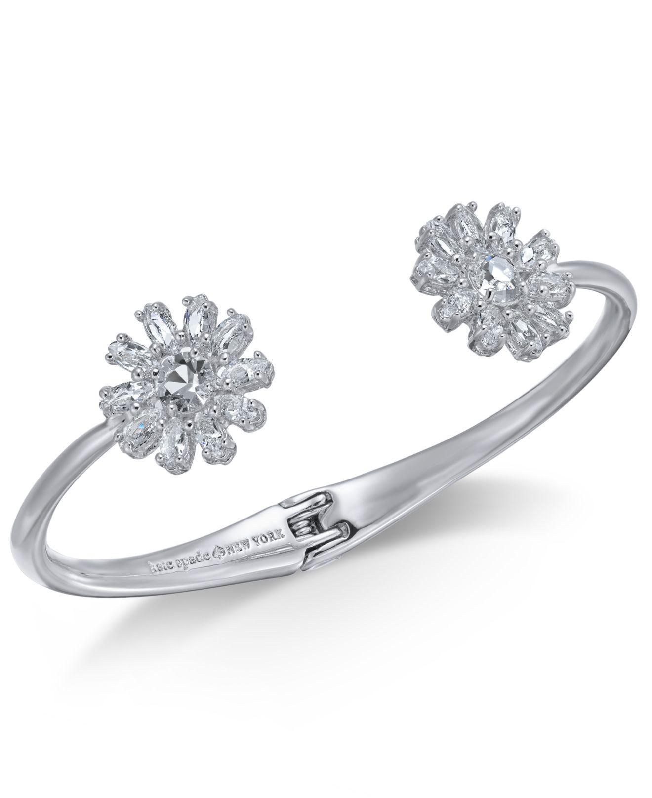 abea61c261311 Kate Spade Silver-tone Crystal Flower Cuff Bracelet in Metallic - Lyst