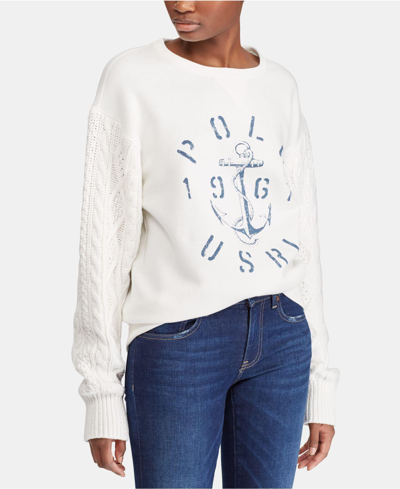 befca3ee084c Lyst - Polo Ralph Lauren Aran-knit Fleece Pullover in White - Save 30%