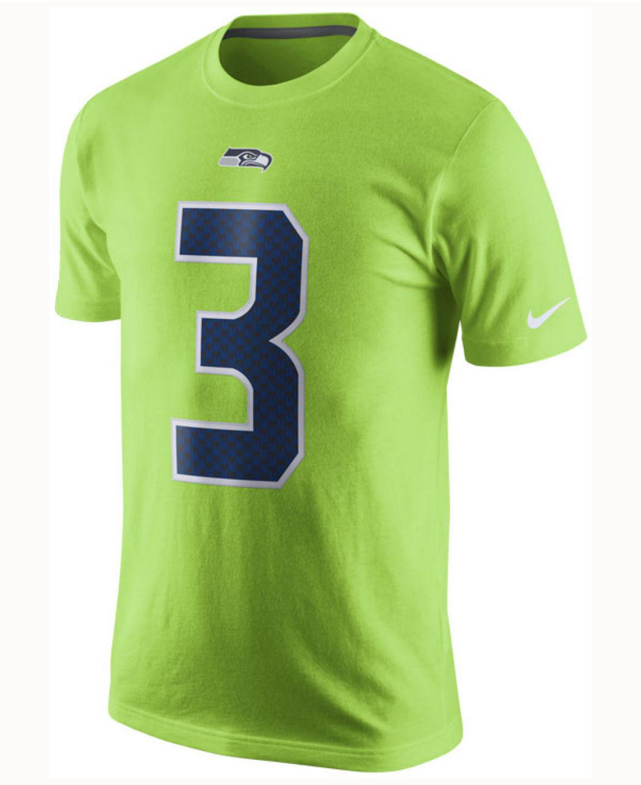 ef5effdbb ... where to buy lyst nike mens russell wilson seattle seahawks color rush  name number t shirt