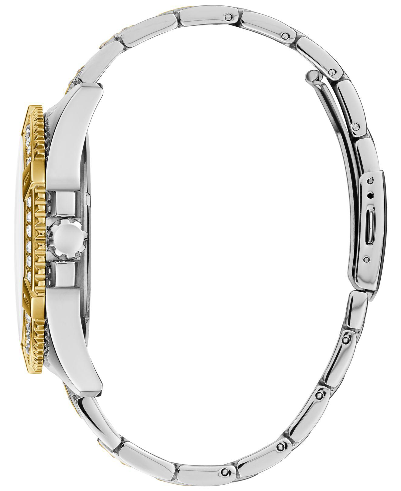 18754c9e624 Lyst - Guess Men s Pavé Crystal-set Two-tone Bracelet Watch 50mm in  Metallic for Men
