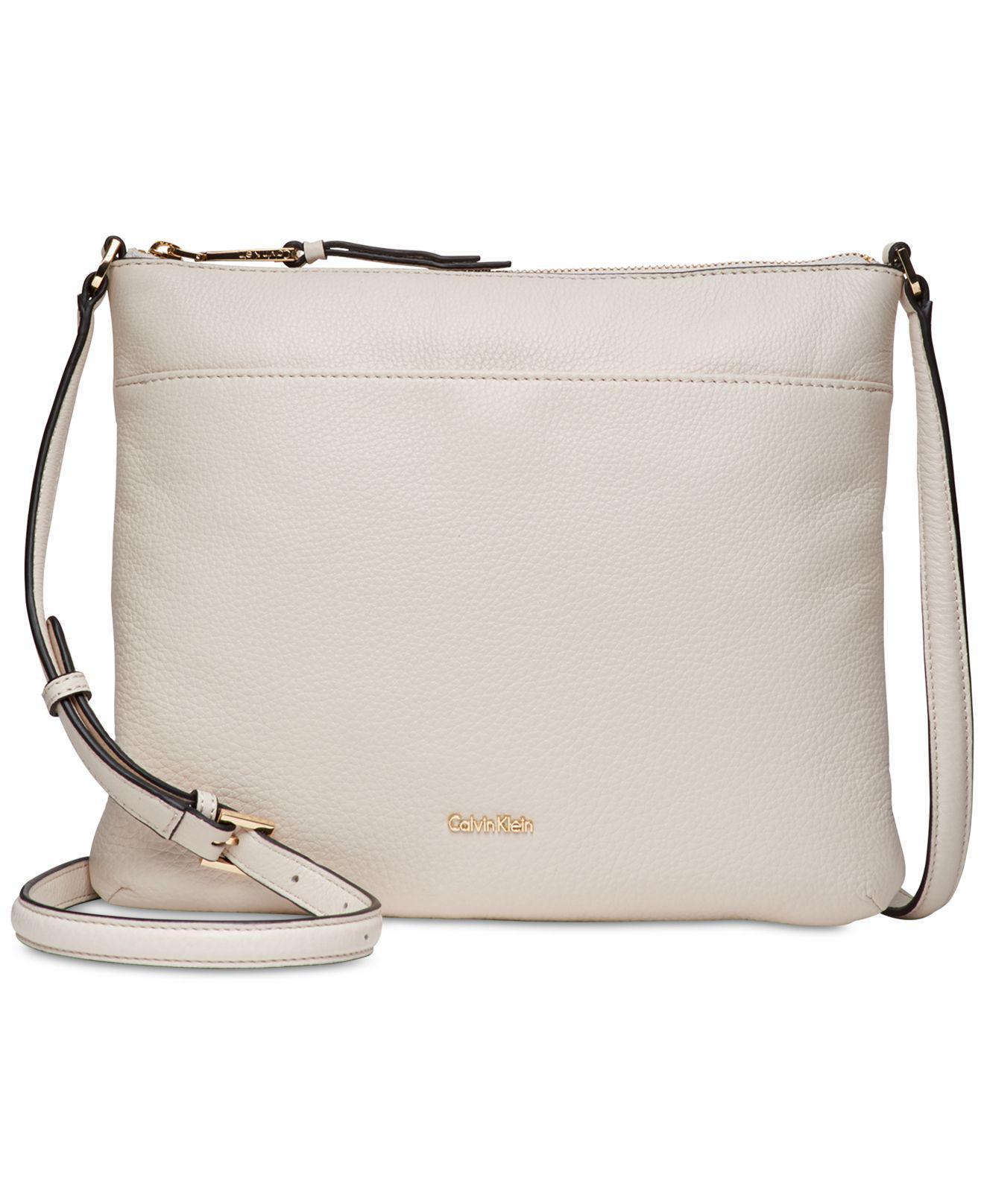 e37e5e2e6617 Calvin Klein - White Pebble Leather Lily Crossbody - Lyst. View fullscreen
