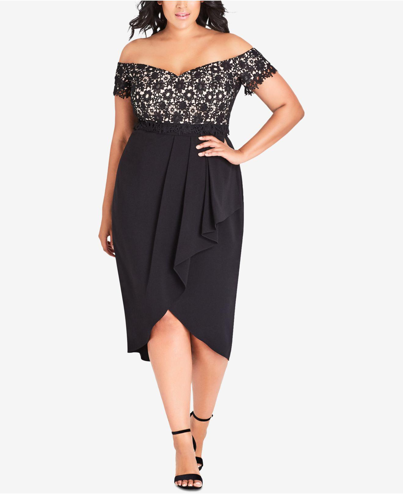 6488c769b87 City Chic. Women s Black Trendy Plus Size Lace Glamour Off-the-shoulder  Dress.  149 From Macy s