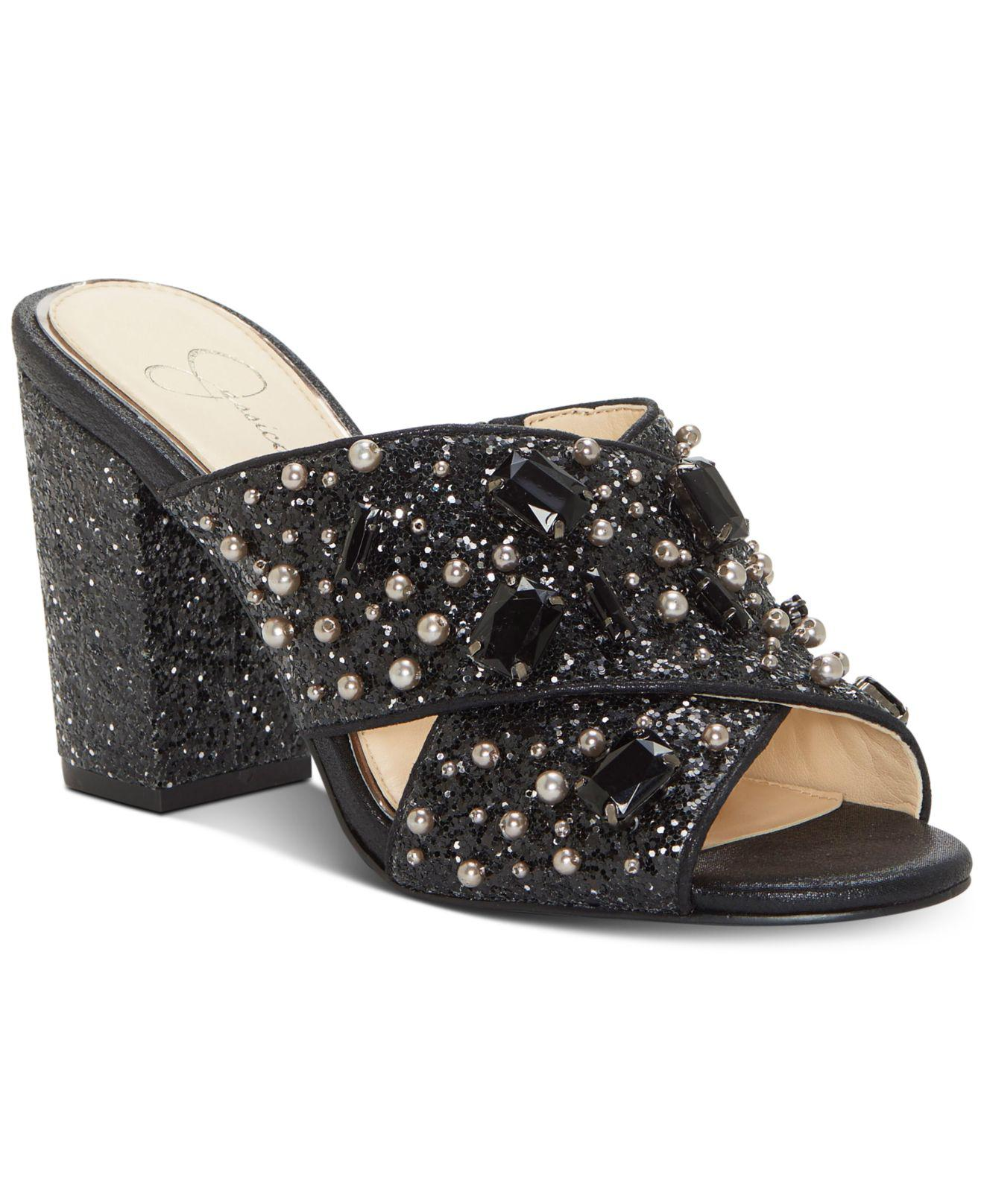 Jessica Simpson Rizell Velvet Rhinestone Jeweled Pearl Embellishment Block Heel Slide Sandals Cailk2eZsS