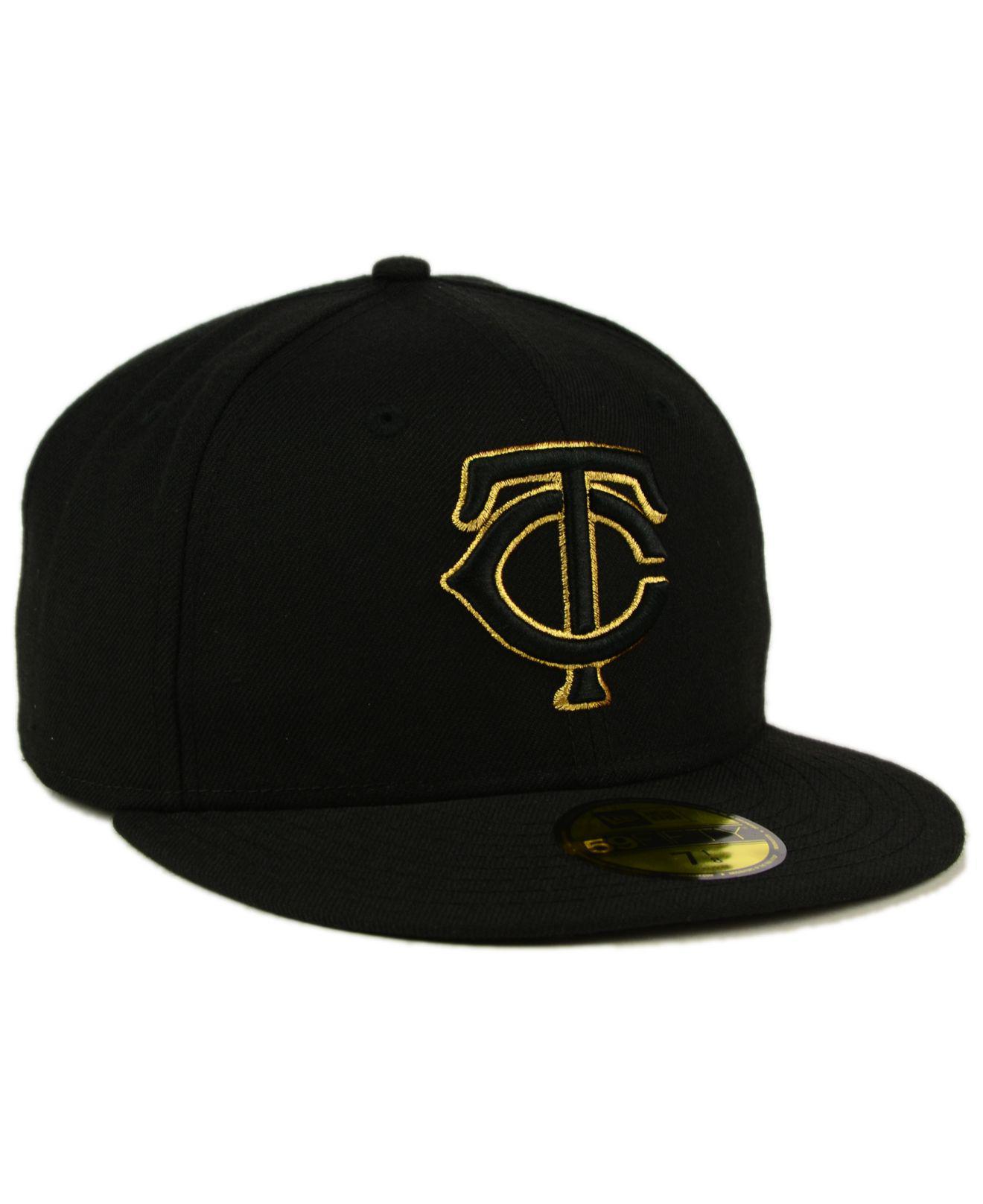 reputable site 993c6 930bc KTZ Minnesota Twins Black On Metallic Gold 59fifty Cap in Black for ...