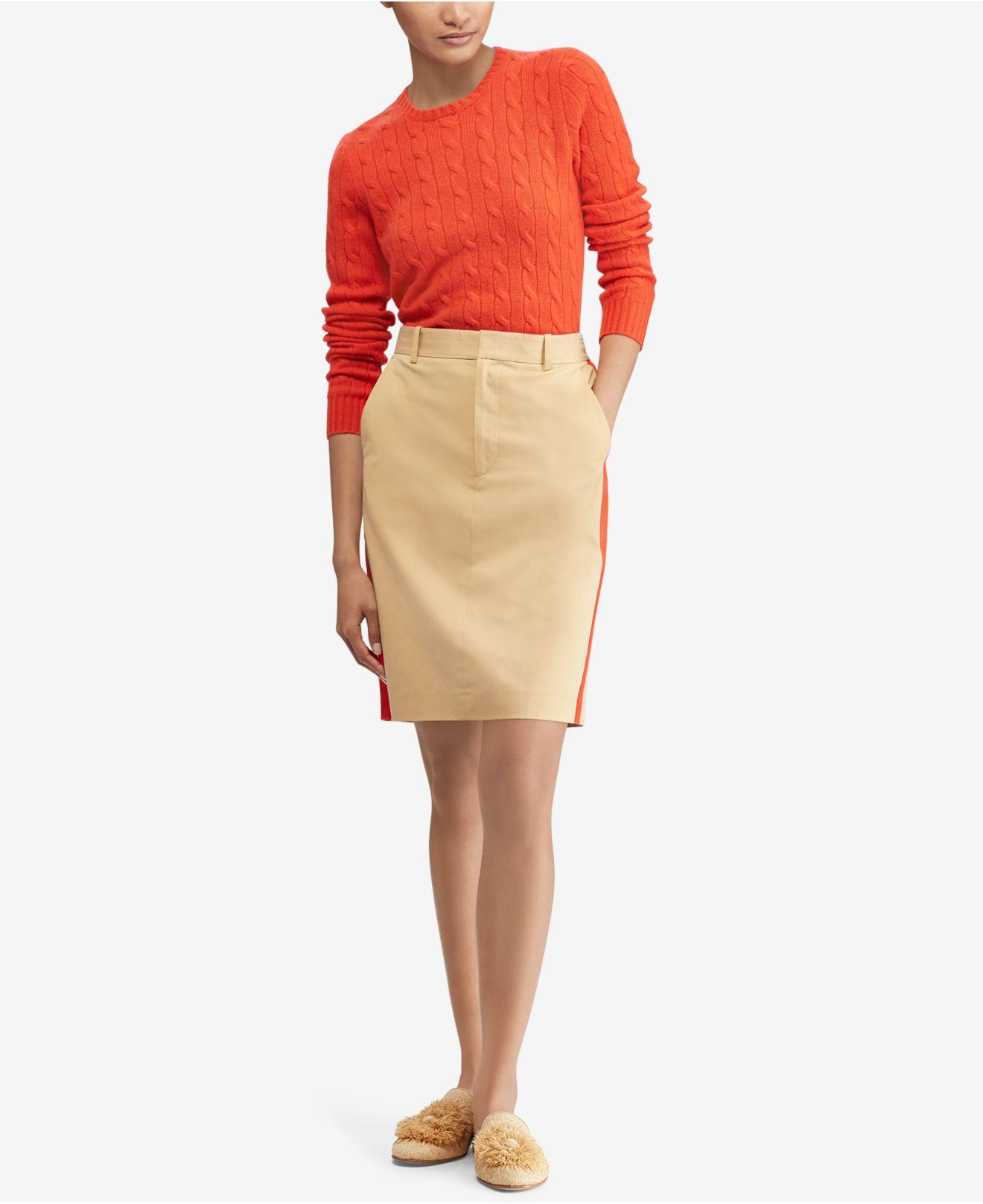 Polo Ralph Lauren - Natural Striped Twill Skirt - Lyst. View fullscreen