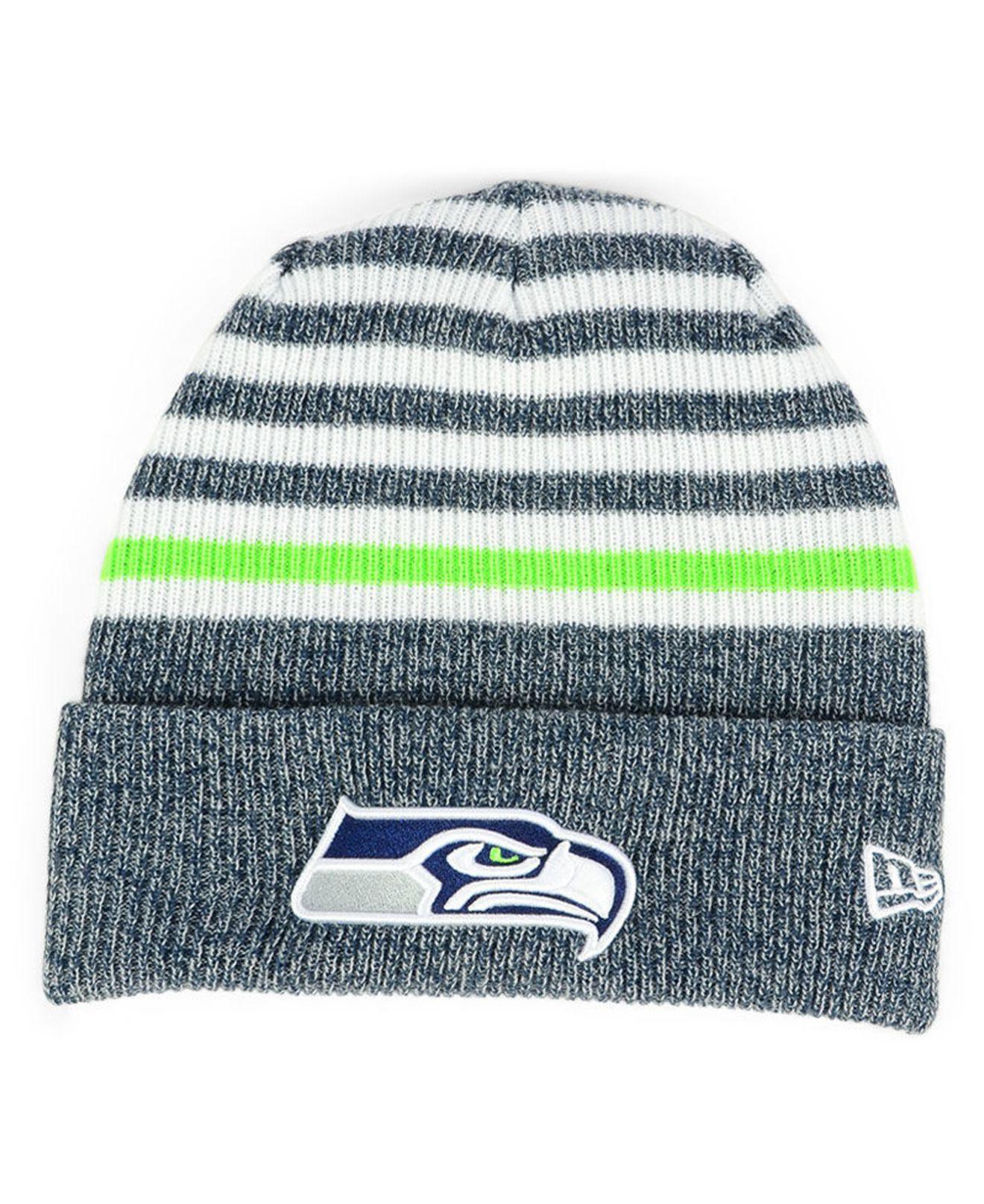 new product 55580 0cf10 Lyst - KTZ Seattle Seahawks Striped2 Cuff Knit Hat in Blue for Men