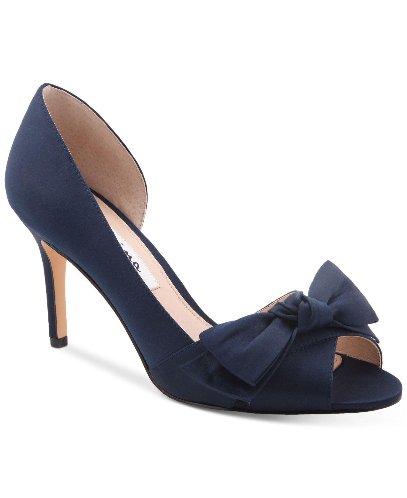555a2ecf3bd7 Lyst - Nina Forbes 2 Bow Peep-toe D orsay Evening Pumps in Blue