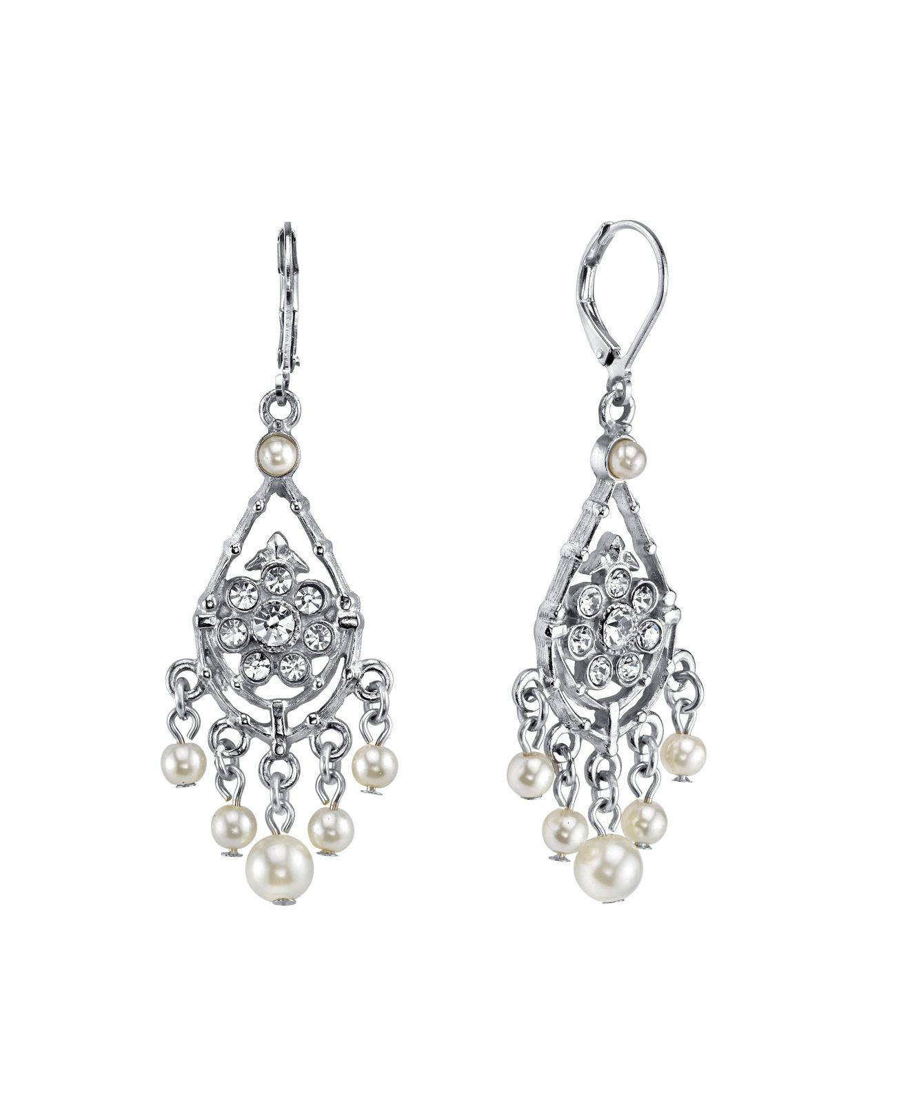 138482650 2028 - Metallic Silver-tone Crystal And Simulated Pearl Chandelier Drop  Earrings - Lyst. View fullscreen