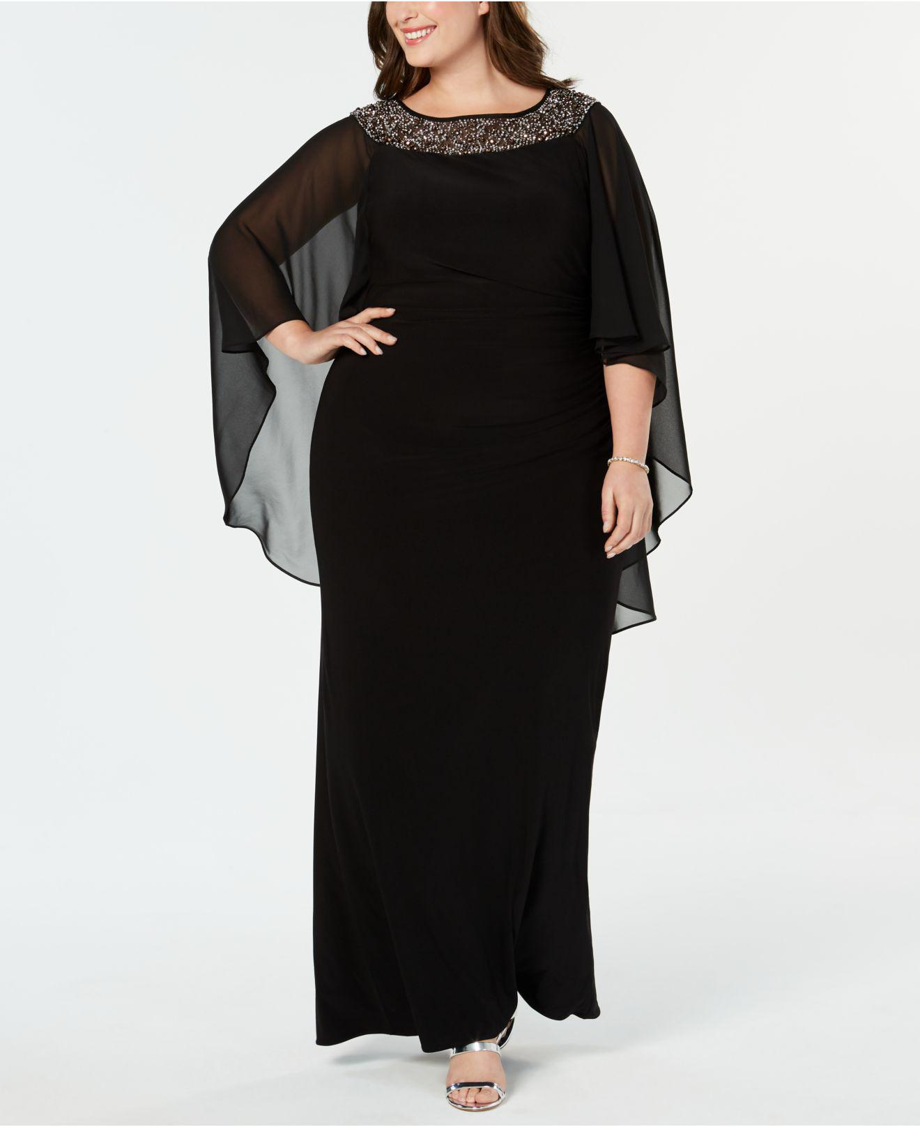 e85e6489348b9 Lyst - Xscape Plus Size Chiffon-cape Embellished Gown in Black