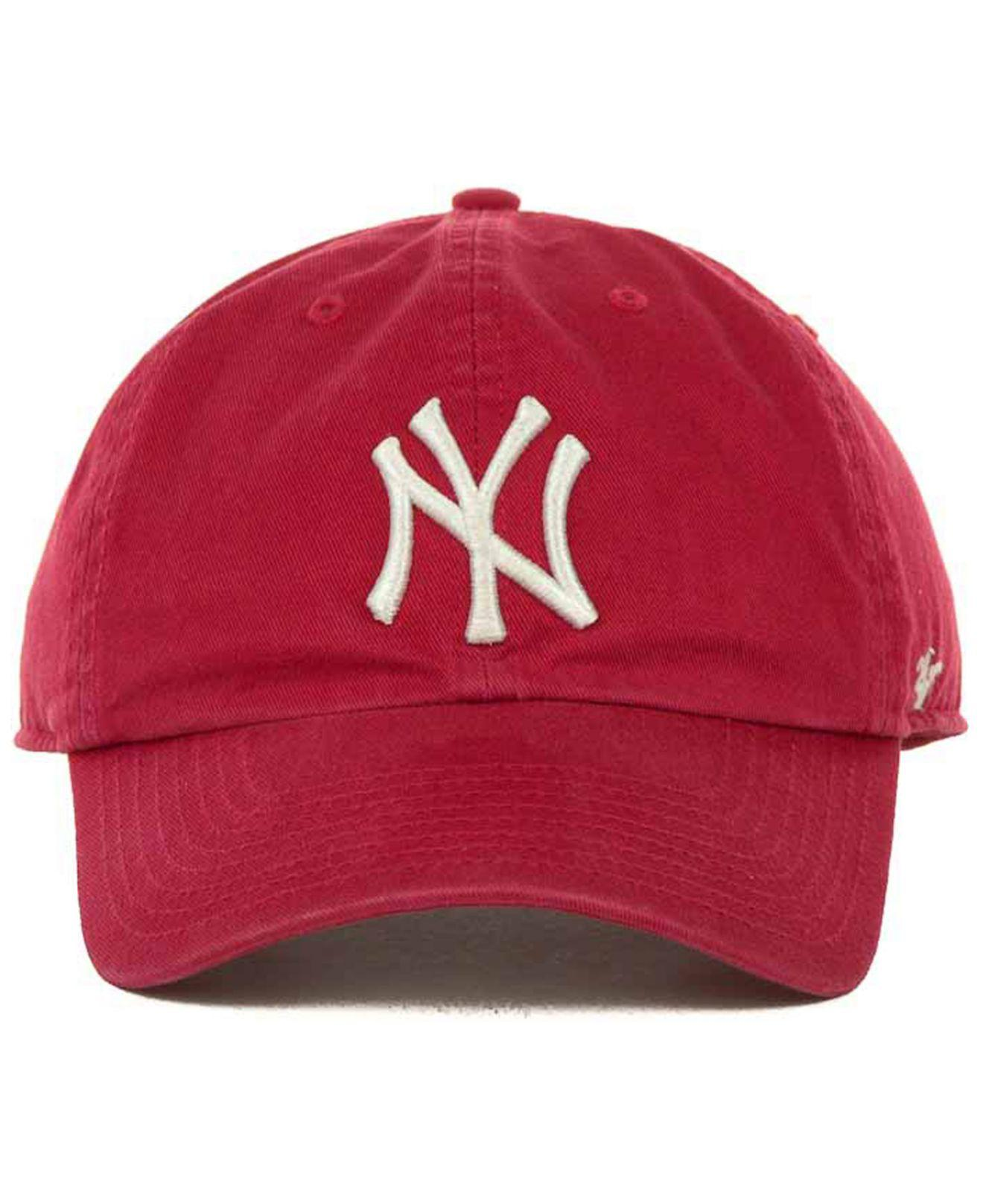 9bb7e41a9d5 Lyst - 47 Brand New York Yankees Clean Up Hat in Red for Men