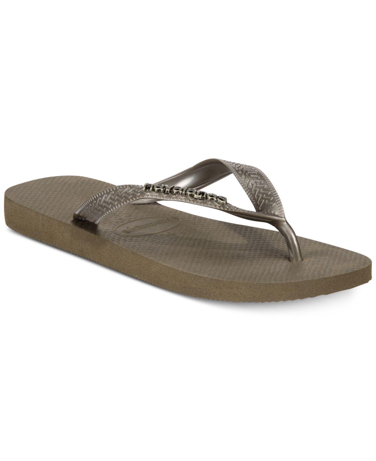 e0d07514e Lyst - Havaianas Top Logo Metallic Flip-flop Sandals in Green