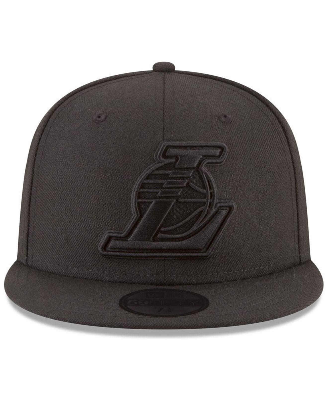 best sneakers c2e20 509c3 new zealand lyst ktz los angeles lakers blackout 59fifty fitted cap in  black e9de8 c8393