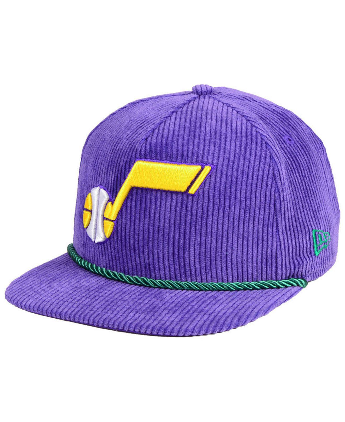 KTZ. Men s Purple Utah Jazz Hardwood Classic Nights Cords 9fifty Snapback  Cap 44a42e062