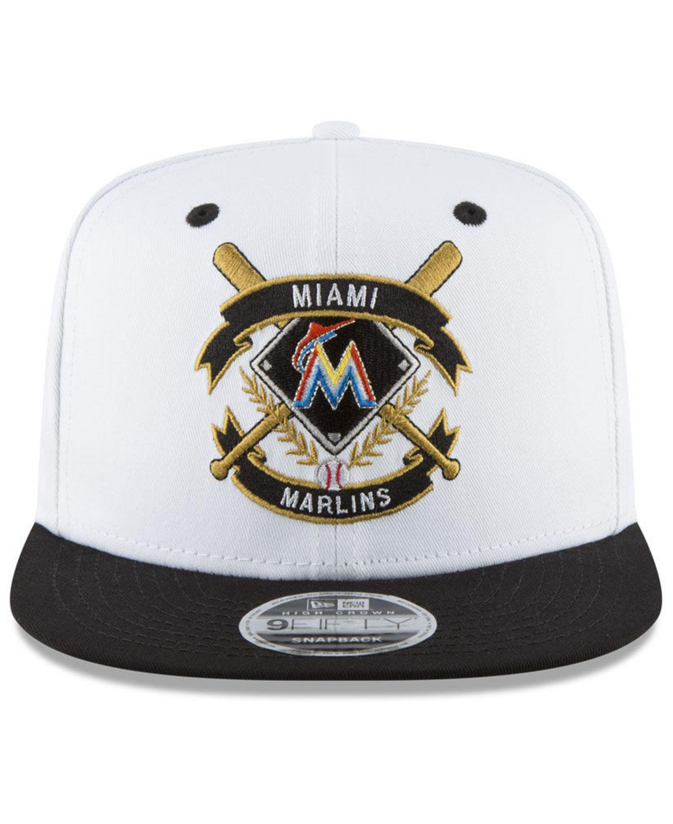 best website bfa6e a9ca7 ... canada lyst ktz miami marlins crest 9fifty snapback cap in black for  men fa760 33581