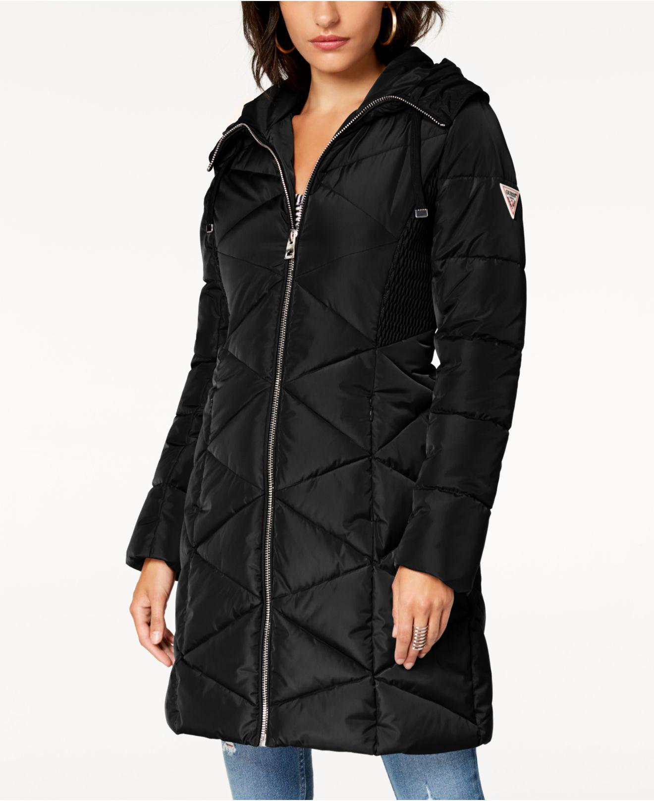 Guess Faux Fur Trim Diamond Quilted Puffer Coat In Black