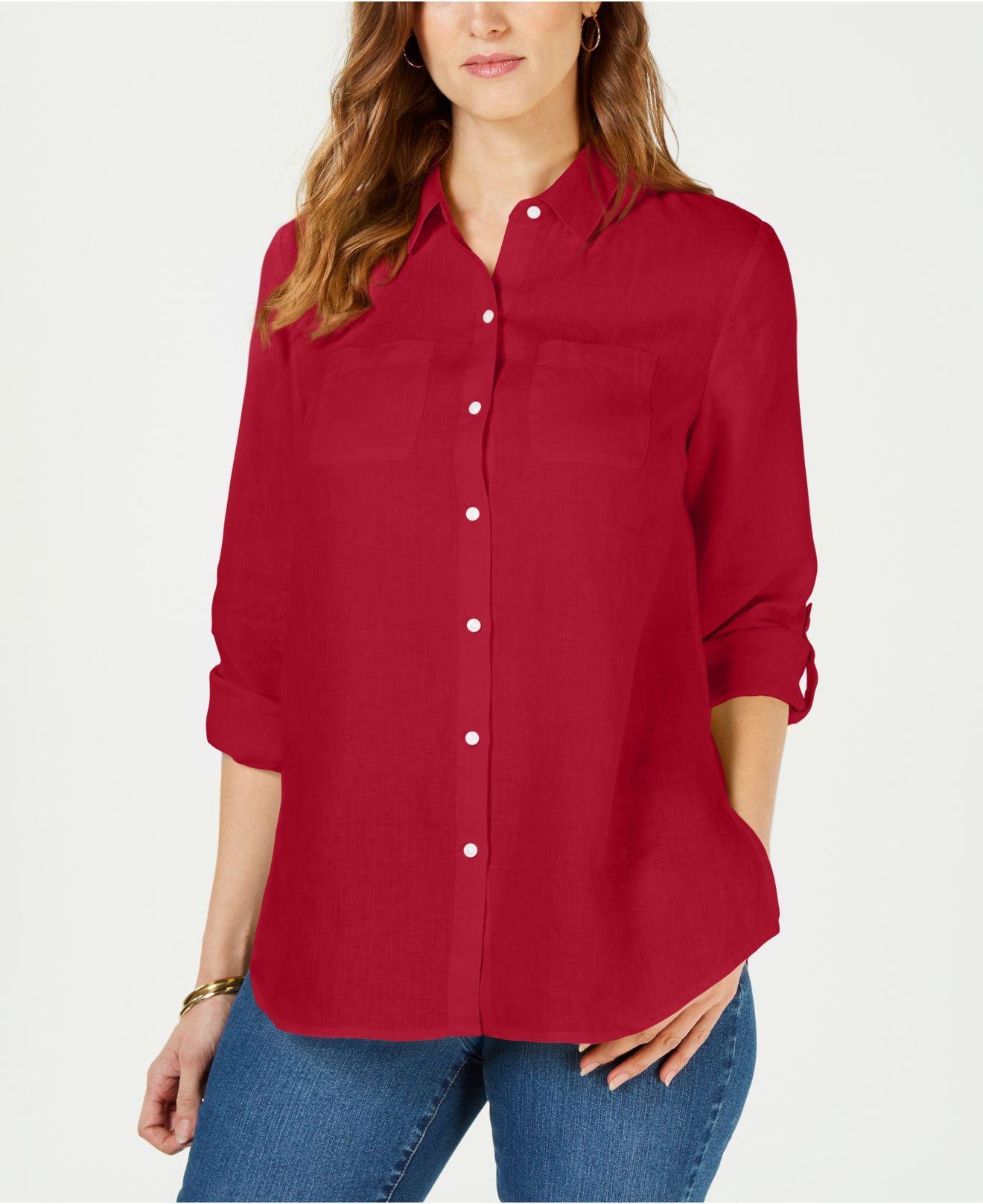 2eeeb79a259 Charter Club. Women s Red Linen Utility Shirt ...