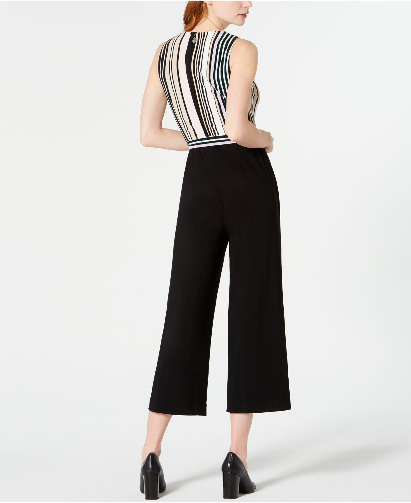 27f16c78618 Lyst - Tommy Hilfiger Striped-top Cropped Jumpsuit