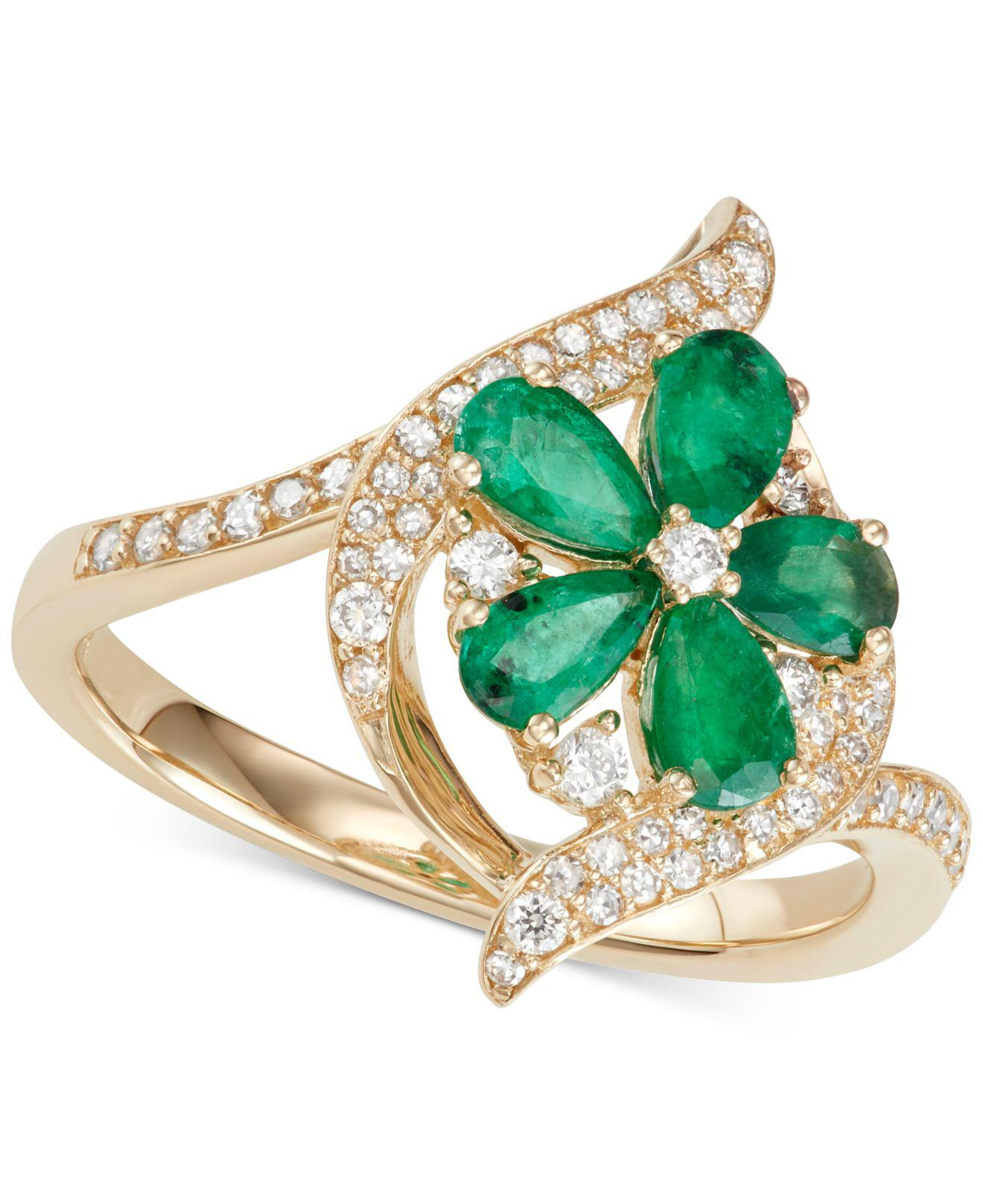 edf6cae70 Lyst - Macy's Emerald (1-1/5 Ct.t.w.) & Diamond (1/3 Ct. T.w.) Ring ...