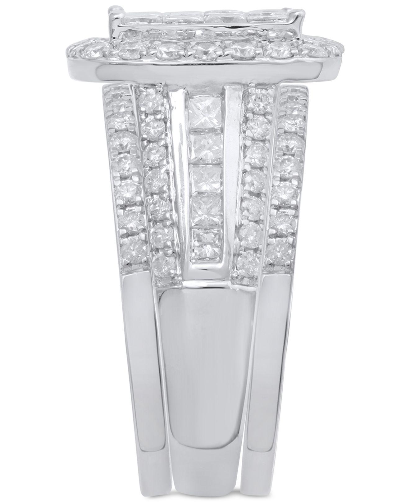 Macy s Diamond 3 pc Bridal Set 2 1 2 Ct T w In 14k White Gold