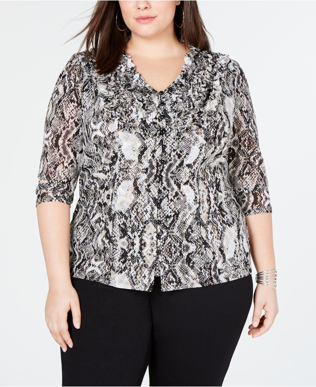 1bbe799f853 Lyst - INC International Concepts I.n.c. Plus Size Ruffle-front Top ...