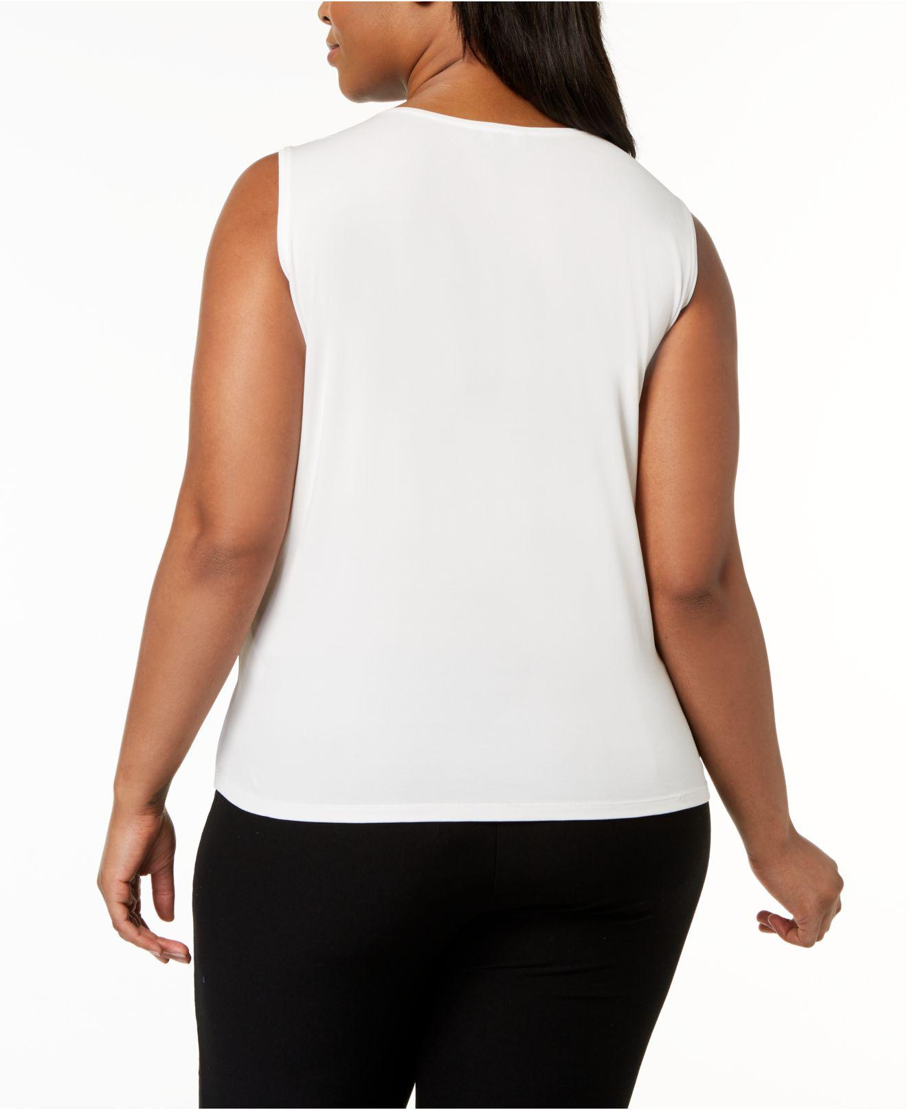 7c603b74c Eileen Fisher Plus Size System Silk Tank Top in White - Lyst