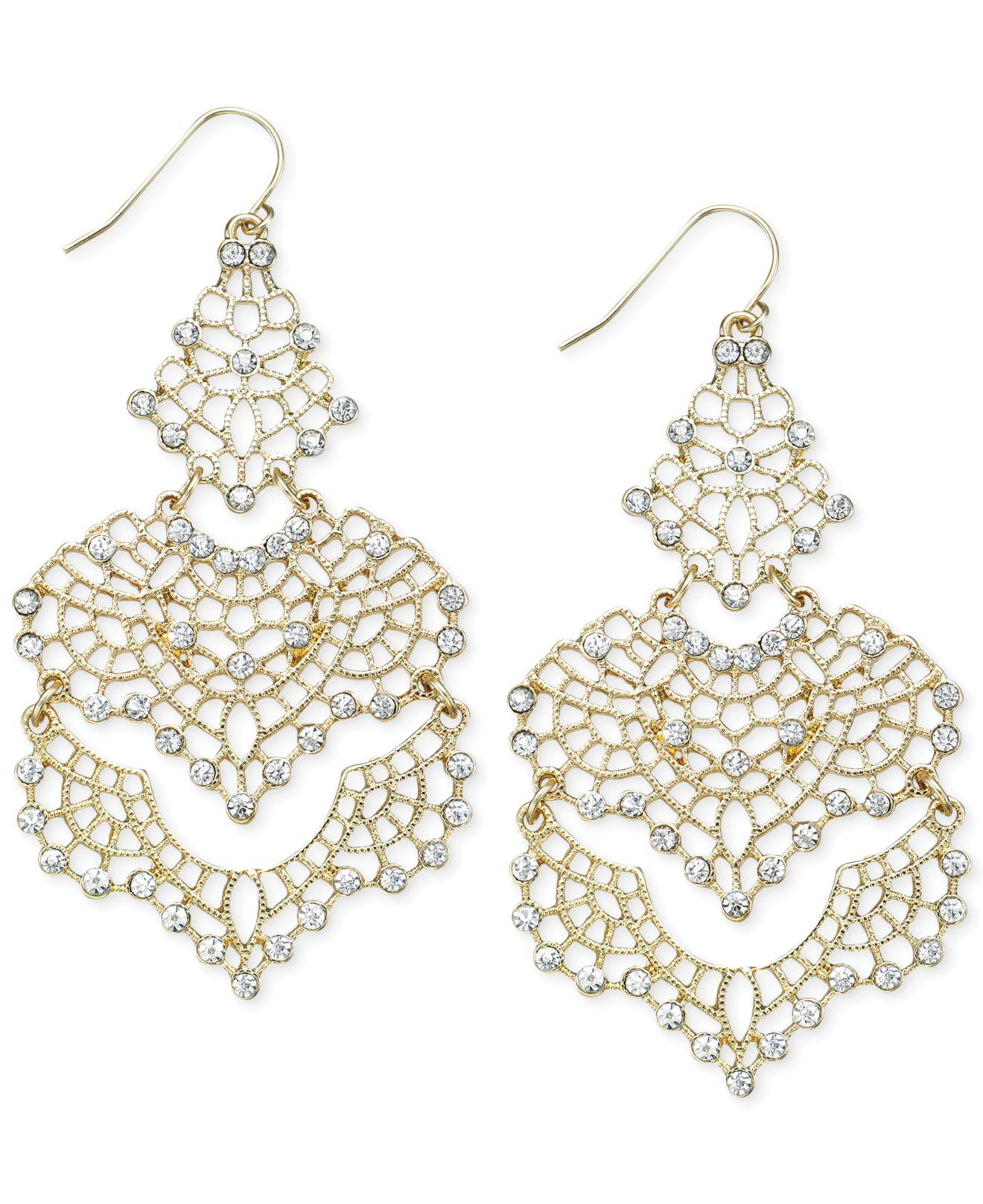 7534e3e9b Long-Touch to Zoom. INC International Concepts - Metallic I.n.c. Crystal  Lace Chandelier Earrings - Lyst