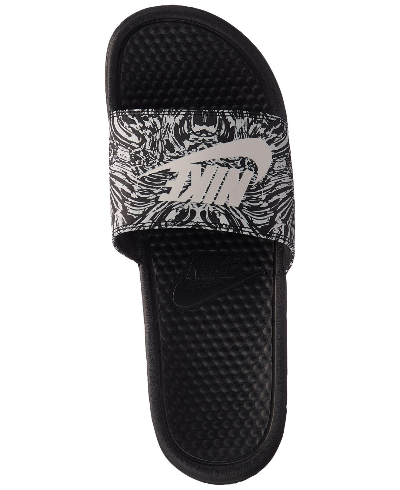 92eb377972e805 ... official lyst nike benassi jdi print slide sandals from finish line in  black for men 770fa