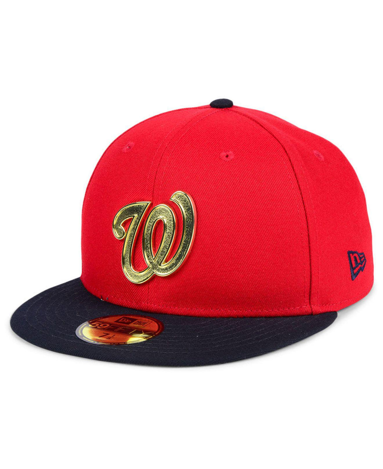 competitive price 32fa0 85796 ... amazon ktz. mens red washington nationals golden finish 59fifty fitted  cap f58f9 3c4ba