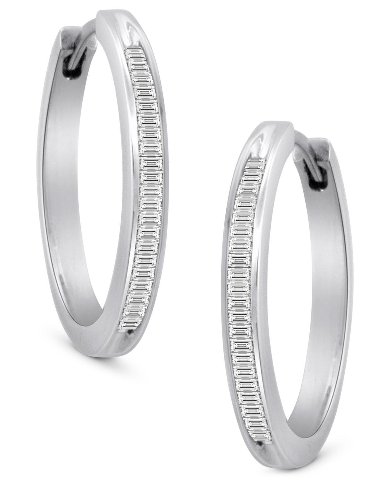 943a59ed0 Lyst - Macy's Diamond Hoop Earrings In Sterling Silver (1/2 Ct. T.w. ...