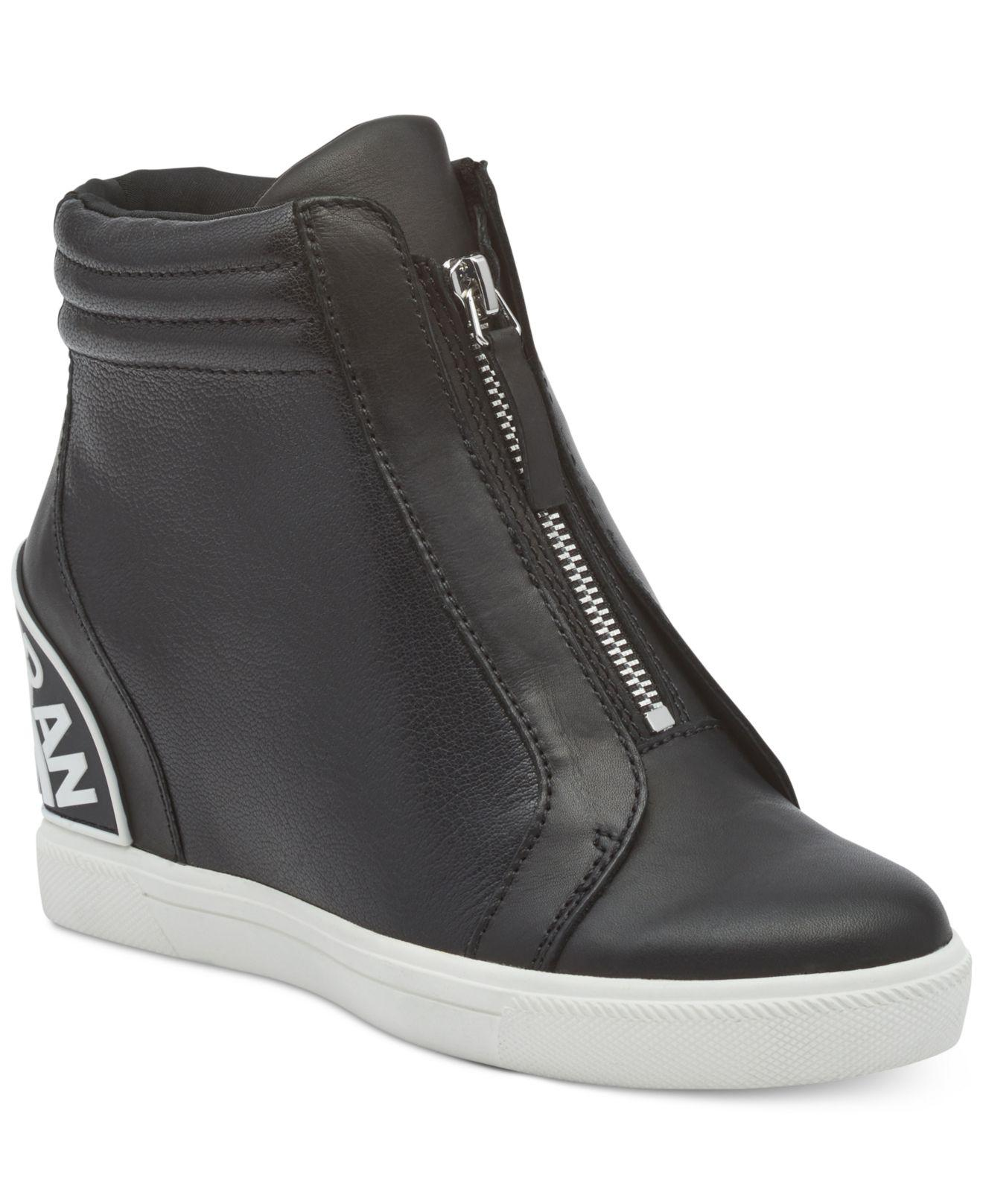 706e8a329540 Lyst - DKNY Connie Slip On Wedge Trainers in Black