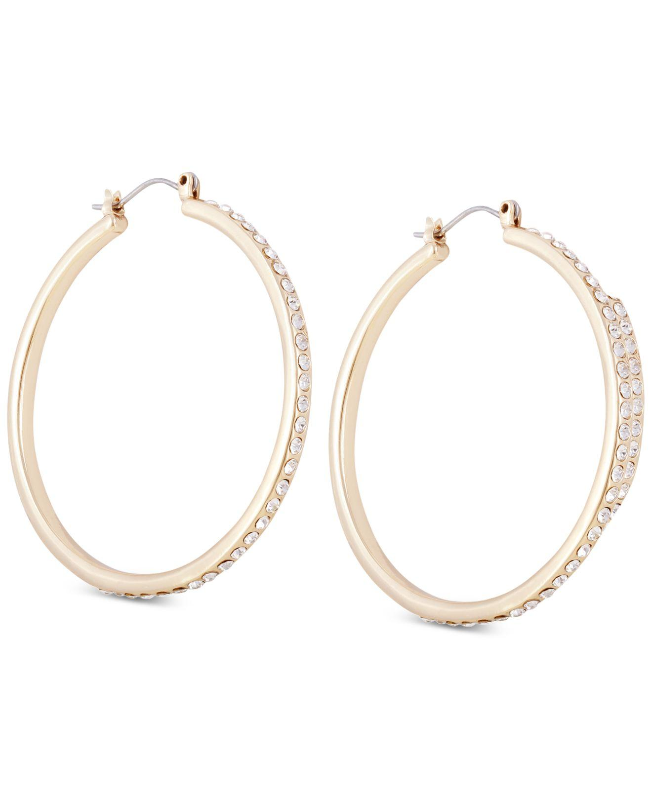 3c99275b9 Lyst - Guess Gold-tone Crystal Large Hoop Earrings in Metallic