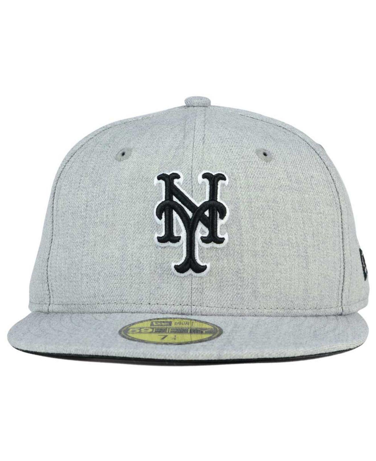 100% authentic df85e 05225 ... australia lyst ktz new york mets heather black white 59fifty cap in  gray for men fd5ec
